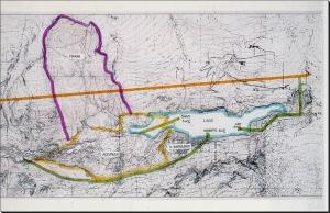 Planimetria del lago con i tre impianti