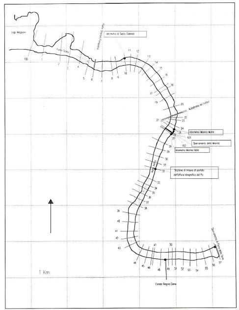 Planimetria tratto di studio. Il funzionamento idraulico dell' incile del lago Maggiore
