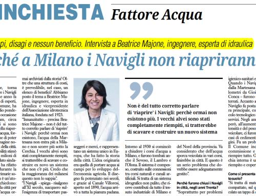 """Perché i Navigli a Milano non riapriranno – Intervista a Beatrice Majone – da"""" Il giornale dell'Ingegnere"""" 4 aprile 2016"""