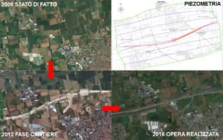 01-vista aerea dell'area nelle tre fasi stato di fatto-cantiere-fine realizzazione